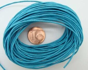 FIL Echeveau 9m environ cordon Coton ciré 1mm BLEU Coton-ech-9m-1mm-bleu Loisirs création bijoux