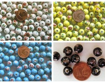 10 Perles Rondes 8mm Porcelaine motif Fleurs ou Papillons DIY création bijoux fond uni au choix