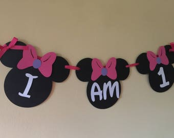 Minnie mouse High Chair Banner. Minnie Mouse party. Minnie Mouse birthday party. Minnie mouse birthday. I am 1 banner