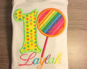 Girls Rainbow Lollipop Dot Birthday Shirt Or Bodysuit - Ages 1-6, Toddler, Custom Birthday Number Top