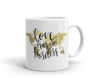 World map mug etsy world map mug love has no borders couples mug long distance mug sciox Image collections