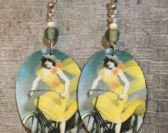 Upcycled Vintage Humber Cycles Bicycle Print Earrings, paper and cardboard decoupage