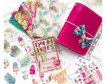 Totally Tropical Travelers Notebook Decorative Kit | Vellum | Acetate | Dashboard | Ephemera