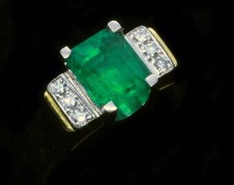 Antique Vintage Art Deco Ring Emerald Diamonds 18k Yellow Gold Platinum (#5803)
