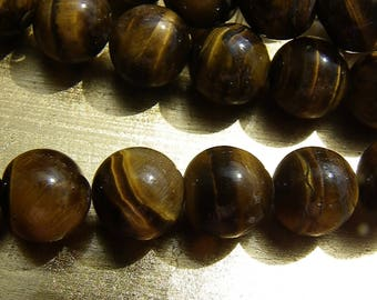 20 Tiger eye 10 mm natural beige brown color