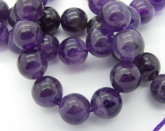 3 natural 12 mm with hole 1 mm purple amethyst beads