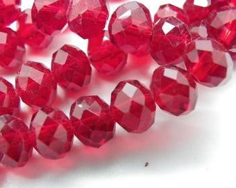 50 beads 8 mm glass crystal nacklace with tomato red