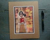 SALE! 8x10 lined journal, thin notebook, kraft lined journal, art journal, whimsical girl, Inspirational Art, Brave: Continue with Courage