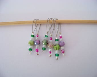 Fun beaded Stitch Markers - set of 6 - knit knitting charms,  stitch markers