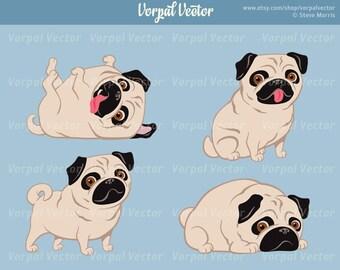 Cute Pug Clipart, Cartoon Dog, Pug Clip Art, Dog Clip Art