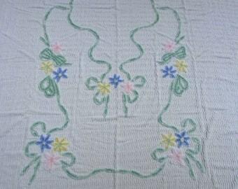 "1950's White Chenille Double Bedspread, Pink Blue Daisies/ Vintage Mid Century Pastel Floral Cotton Chenille Bedspread/ 83"" W X 99"" L"