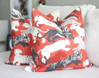robert allen rajita tiger // tiger print pillow cover // red pillow cover // lacefield cub fossil // leopard print // animal print