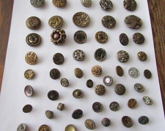 Vintage Lot of 50 Metal Buttons Nice Assortment
