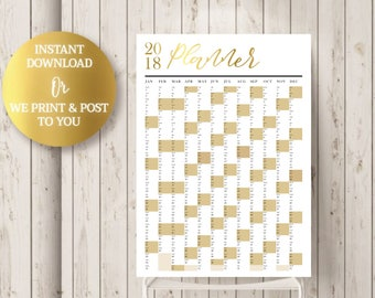 2018 Goal Calendar - PRINTABLE Year Planner - 2018 Wall Planner - Yearly Planner, Gold Foil Effect - Instant Download of Printed Poster