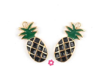 x 2 pendant 23x12mm black enamel (128D) Gold pineapple charm