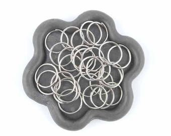 x 50 rings open silver Platinum 10mm (10)