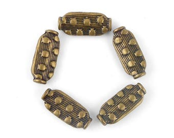 x 5 diamond metal beads bronze 14x6mm (92)