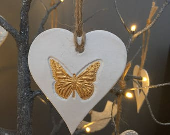Small white and gold butterfly hanging heart