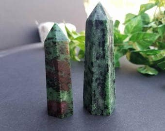 Ruby Zoisite Generator Point Pair | Crystals and Stones | Ruby Zoisite | Healing Crystals | Protection Stones | Energy Healing | Wicca |