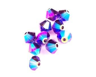 Purple Velvet AB2X - 6mm, 12 pcs - Swarovski Crystal Bicone