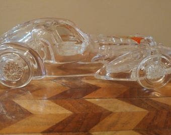 Vintage Anna Hutte Bleikristall Lead Crystal Car Bugatti Type 57 Atlantique Made in West Germany
