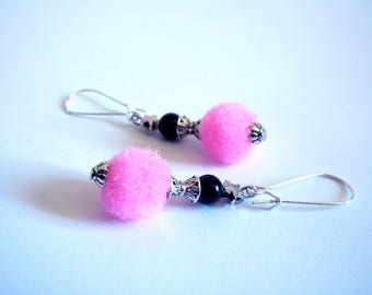 Summer earrings, tassels pink beads