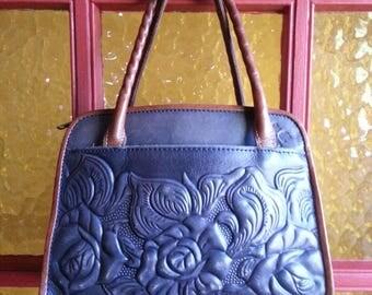 Leather Bag Flower Satchel Nash