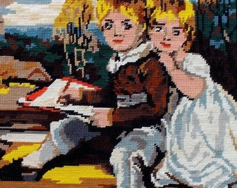 SALE 10% OFF Vintage French Needlepoint Tapestry 'Les Engants, Children  (4653)