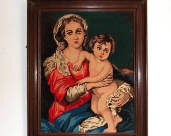 SALE 10% OFF Vintage French Framed Needlepoint Tapestry, 'Mother & Child' (3154)