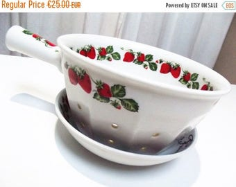 30% REDUCTION French Berry bowl - berry strainer - small colander, strawberry pattern, fruit colander, French vintage pottery strainer