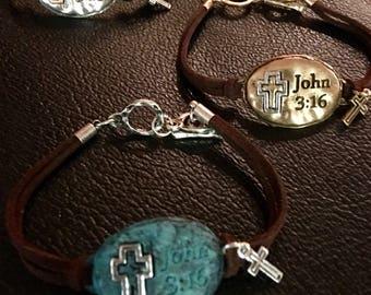 Silver Oval John 3:16 Leather Bracelet