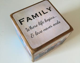 Photo Cube, Photo Block - Photo Gift Idea, wooden photo block, photo keepsake, wooden block, handmade gift, photo gift, family