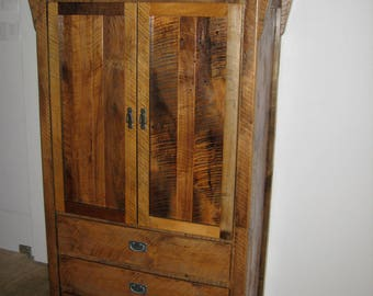 Rustic Reclaimed Barn Wood Stand Alone Armoire/Closet   Model# WD360    Amish Made