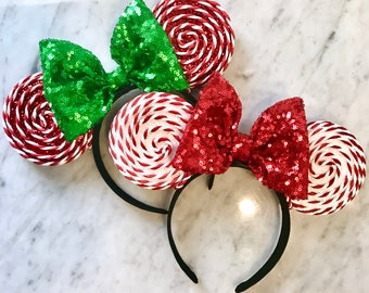 READY TO SHIP- Peppermint Christmas Mouse Ears