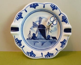 Ashtray, Blue Delft, Windmill Scene, w / Dutch Clogs, From Elesva