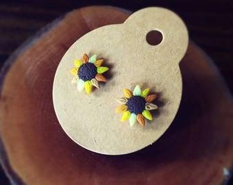 Handmade Little Bits Earrings Yellow Sunflower Garden Stud Earrings Polymer Clay Surgical Steel