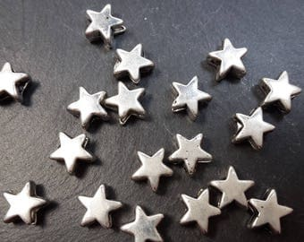 Set of 20 small stars beads silver metal spacer beads in silver, 6 x 6 mm