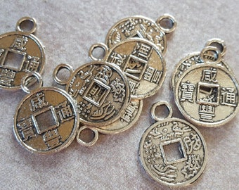 x 10 small silver metal parts - coins - sequins charms pendants ethnic boho - 12 x 10 mm