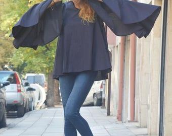 Extravagant Loose Sleeves Shirt, Dark Blue Cotton Shirt, Casual Party Shirt, Maxi Tunic by SSDfashion