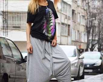 Plus Size Loose Casual Pants, Drop Crotch Harem Pants, Oversize Maxi Pants, Low Bottom Pants by SSDfashion