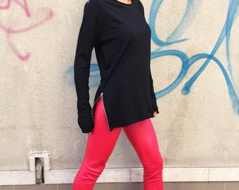 Casual Loose Black Blouse, Asymmetric Ovesized Top, Extravagant Blouse With Zippers, Extra Long Sleeves by SSDfashion