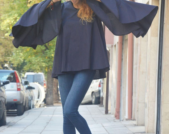 Extravagant Loose Sleeves Shirt, Dark Blue Cotton Shirt, Casual Party Shirt, Maxi Tunic by SSDfashion