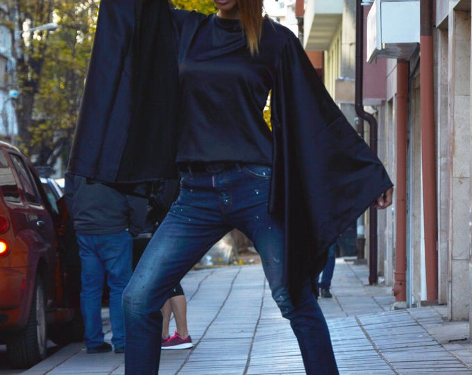 Extravagant Loose Sleeves Zipper Shirt, Asymmetric Oversize Satin Shirt, Black Shirt Top by SSDfashion