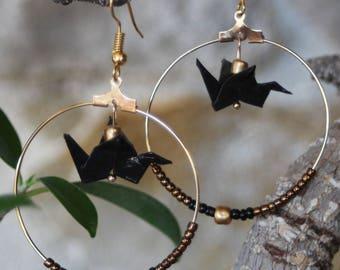 Origami crane earrings Pearl Earrings