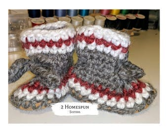 Gray Baby Booties Moccasin Construction Socks Grey Red Striped Baby Shower Ohio Baby Varsity Football Work Sock Monkey Slippers Nursery