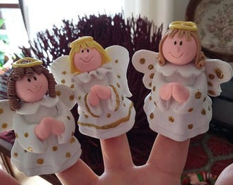 ON SALE Polymer clay angels, 3 christmas tree decorations, 3 angeli natalizi  in fimo, handmade angels ,  christmas gift, christmas angels