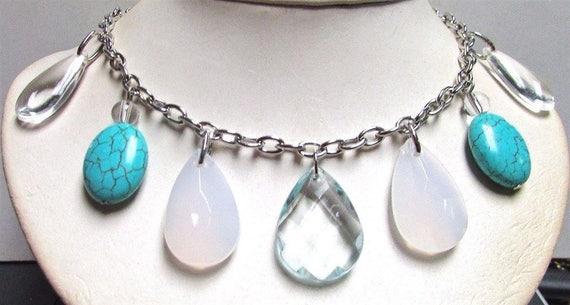 Vintage 60's Glass Lucite Drop Bead Bib Collar Chain Necklace