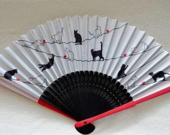 Black Cat Hand Fan-Handheld Folding Fan, Japanese Hand Fan,folding fan,white hand fan,animals hand fan