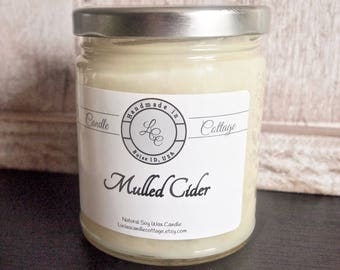 Organic Soy Candle- Mulled Cider- Vegan Candle-  Fall & Holiday- Scented Candle- Eco-Friendly- White Candle,