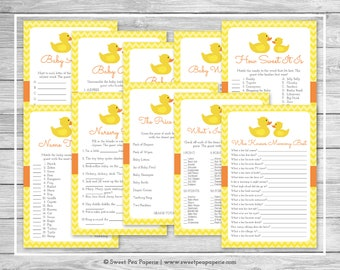 Rubber Ducky Baby Shower Games - 10 Printable Baby Shower Games - Rubber Duck Baby Shower - Baby Shower Games Package - Duck Shower - SP121